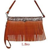 6 Units of Light Brown Wallet Purse with Fringes - Leather Purses and Handbags