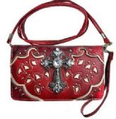 6 Units of Rhinestone Cross Western Wallet Purse Red - Leather Purses and Handbags
