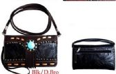 6 Units of Western Style Wallet Purse Black/Brown - Leather Purses and Handbags