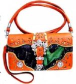 6 Units of Camo Rhinestone Buckle Wallet PUrse Orange - Leather Purses and Handbags