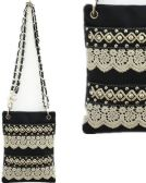 6 Units of Rhinestone Studded Phone Purse with Lace Black - Leather Purses and Handbags