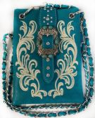 6 Units of Buckle with Flower Embroidery Phone Purse Turquoise - Leather Purses and Handbags