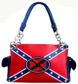 4 Units of Rebel Confederate Flag Large Purse with Flag Plaque