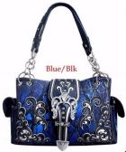 4 Units of Large Rhinestone Purse Buckle Camo Blue