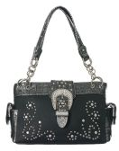 4 Units of Large Rhinestone Purse Studded with Buckle Black Color
