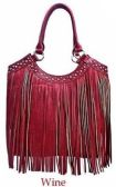 4 Units of Rhinestone Fashion Purse with Long Fringes Wine