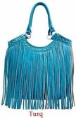 4 Units of Rhinestone Fashion Purse with Long Fringes Turquoise