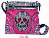 4 Units of Rhinestone Sling Purse Sugar Skull Studded Hot Pink