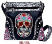 4 Units of Rhinestone Sling Purse Sugar Skull Studded Black Color