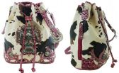 4 Units of Cow Print Bucket Purse with Large Cross Fuchsia - Leather Purses and Handbags