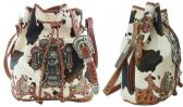 4 Units of Cow Print Bucket Purse with Large Cross Brown - Leather Purses and Handbags