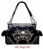 4 Units of Rhinestone Metal Skull Fuax Alligator Skin Black Purse - Leather Purses and Handbags