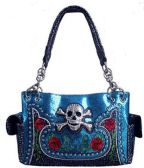 4 Units of Rhinestone Metal Skull Roses Glittery Turquoise Purse - Leather Purses and Handbags