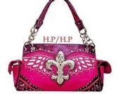 4 Units of Rhinestone Fleur de Lis with Angel Wings Hot Pink Purse
