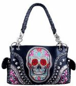 4 Units of Sugar Skull Large Purse with Studs Two Straps
