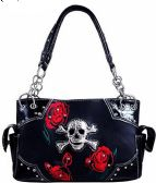 4 Units of Rhinestone Metal Skull with Roses Purse Black