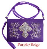 6 Units of Clutch Purse with Rhinestone Cross Western Purple - Leather Purses and Handbags