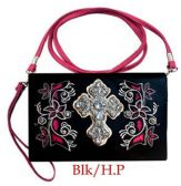 6 Units of Clutch Purse with Rhinestone Cross Western Design - Leather Purses and Handbags