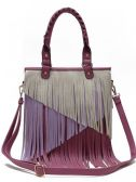 4 Units of Fashion Purse with Long Contrasting Fringes Purple - Leather Purses and Handbags