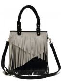 4 Units of Fashion Purse with Long Contrasting Fringes Black - Leather Purses and Handbags