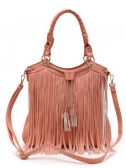 4 Units of Fashion Purse with Long Fringes and Chain Peach - Leather Purses and Handbags