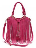 4 Units of Fashion Purse with Long Fringes and Chain Fuchsia - Leather Purses and Handbags