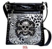 4 Units of Black Rhinestone Skull Crossbody Bag with Gun Bag - Leather Purses and Handbags