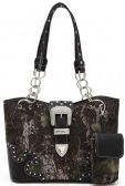 4 Units of Rhinestone Camo Purse with Buckle Black - Leather Purses and Handbags