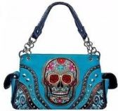 4 Units of Sugar Skull Rhinestone Purse with Gun Pocket - Leather Purses and Handbags