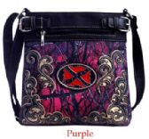4 Units of Purple Camo Rebel Plate Crossbody Sling purse with gun pocket