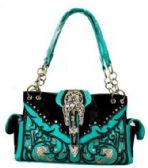 4 Units of Turquoise Black Western Buckle Satchel Purse with gun pocket