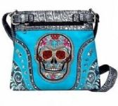 4 Units of Sugar Skull Turquoise Rhinestone Studded Purse
