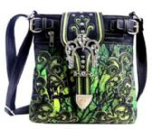 6 Units of Green Camo Rhinestone Buckle Crossbody Sling with gun Pocket