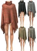 12 Units of Stripped Pattern Winter Poncho Cowl Collar Assorted - Winter Pashminas and Ponchos