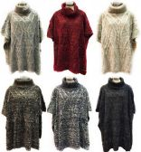 12 Units of Knitted Long Poncho with Cowl Collar Assorted - Winter Pashminas and Ponchos