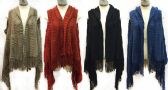 12 Units of Knitted Vests With Zig Zag Stiches Fringe Bottoms - Winter Pashminas and Ponchos