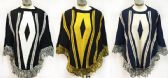 12 Units of Knitted Poncho with Fringe Assorted - Winter Pashminas and Ponchos