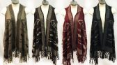 12 Units of Knitted Vest Aztec Tribal Pattern with Fringes - Winter Pashminas and Ponchos