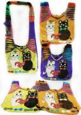10 Units of Nepal Hobo Bags Black & White Cat Assorted Colors