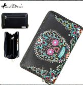 4 Units of Montana West Sugar Skull Collection Wallet Grey