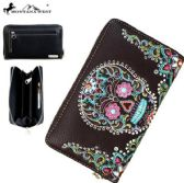 4 Units of Montana West Sugar Skull Collection Wallet Coffee