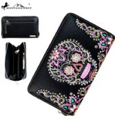 4 Units of Montana West Sugar Skull Collection Wallet Black