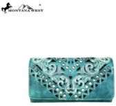 4 Units of Montana West Embroidered Collection Secretary Style Wallet TQ