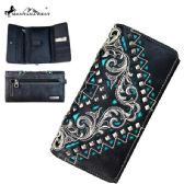 4 Units of Montana West Embroidered Collection Secretary Style Wallet