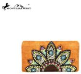 4 Units of Montana West Embroidered Collection Secretary Style Wallet Brown
