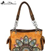 2 Units of Montana West Embroidered Collection Satchel Brown