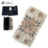 4 Units of Montana West Embroidered Collection Secretary Style Wallet Beige
