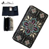 4 Units of Montana West Embroidered Collection Secretary Style Wallet Black
