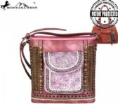 4 Units of Montana West Tooled Collection Concealed Handgun Crossbody Bag Pink