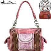 2 Units of Montana West Tooled Collection Concealed Handgun Satchel PINK